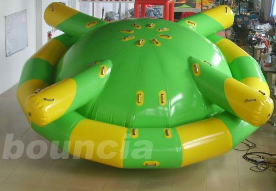 Double Layer PVC Fabric Inflatable Saturn Rocker / Inflatable Floating Spinner
