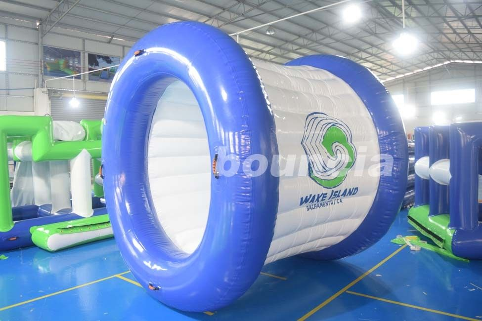 0.9mm PVC Tarpaulin Blue and White Color Inflatable Water Roller For Sale
